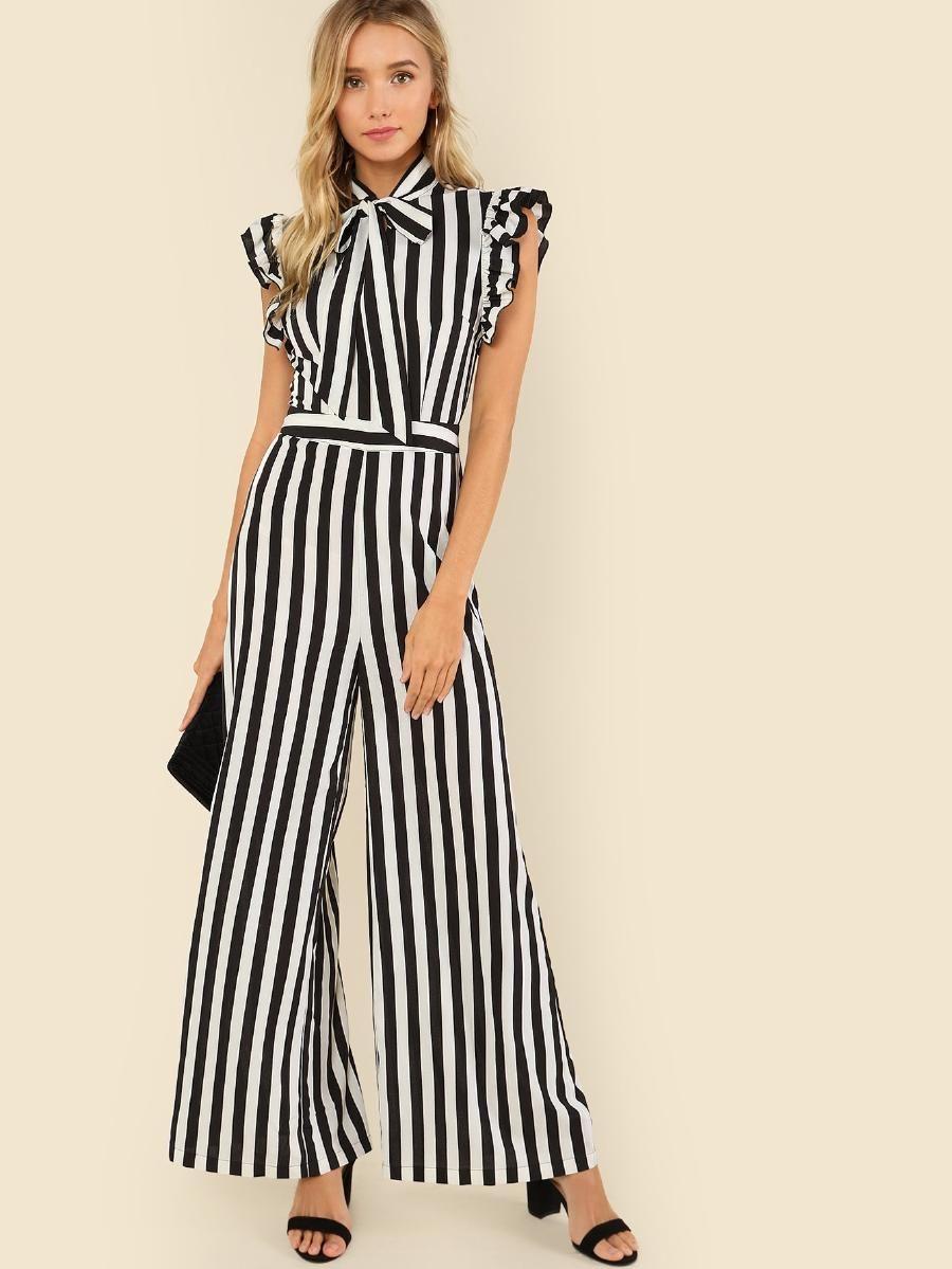 ac90288ef1 Tie Neck Ruffle Armhole Striped Palazzo Jumpsuit -SheIn(Sheinside ...