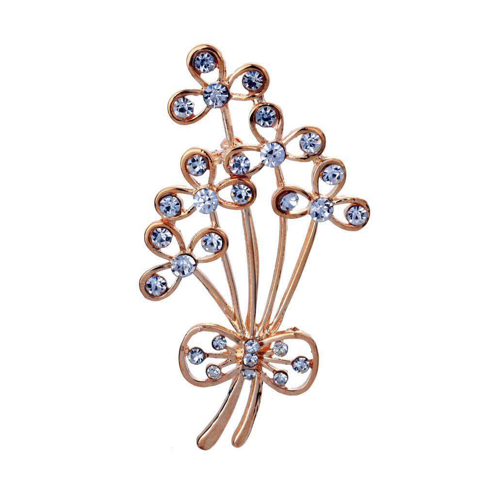 Alloy Crystal Rhinestone Flower Brooch