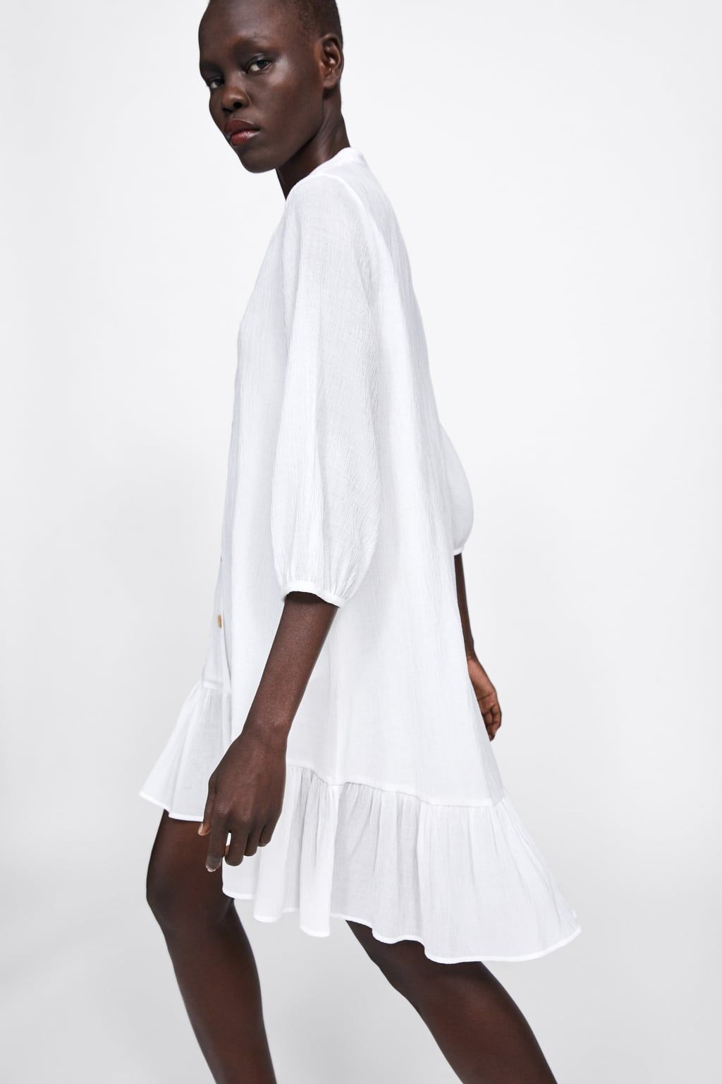 textured dress with ruffled hem-view all-dresses-woman