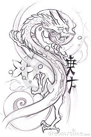 Tattoo art, sketch of a japanese dragon by Fernando Cortés