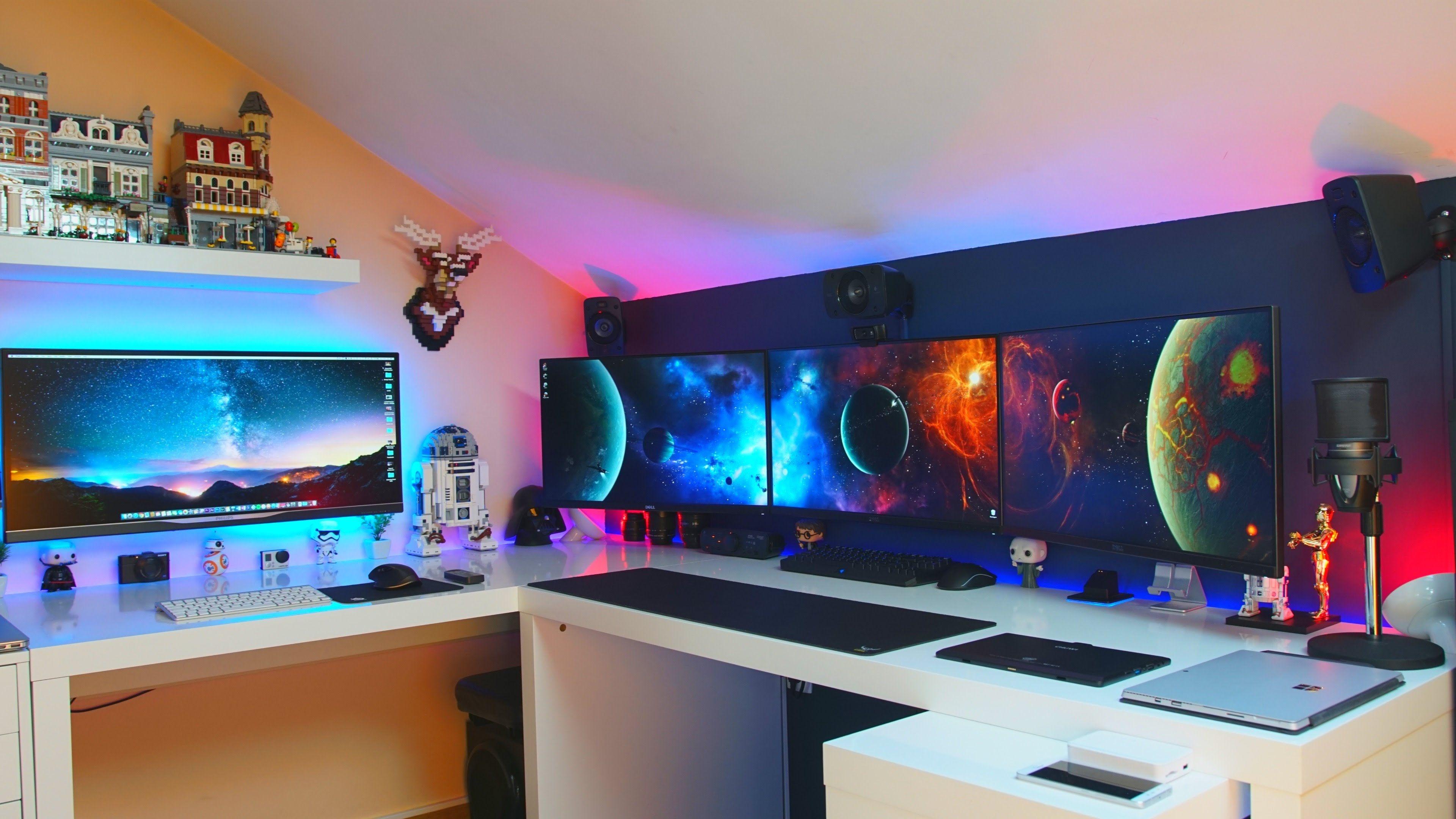 melhor quarto gaming setup tour 2016 portugu s gaming desk in 2018 pinterest. Black Bedroom Furniture Sets. Home Design Ideas