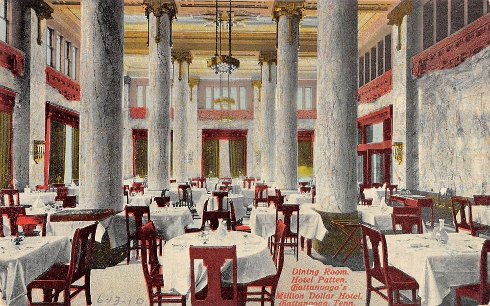 Chattanooga Tennessee Hotel Patten Dining Room Interior Antique Postcard V20039