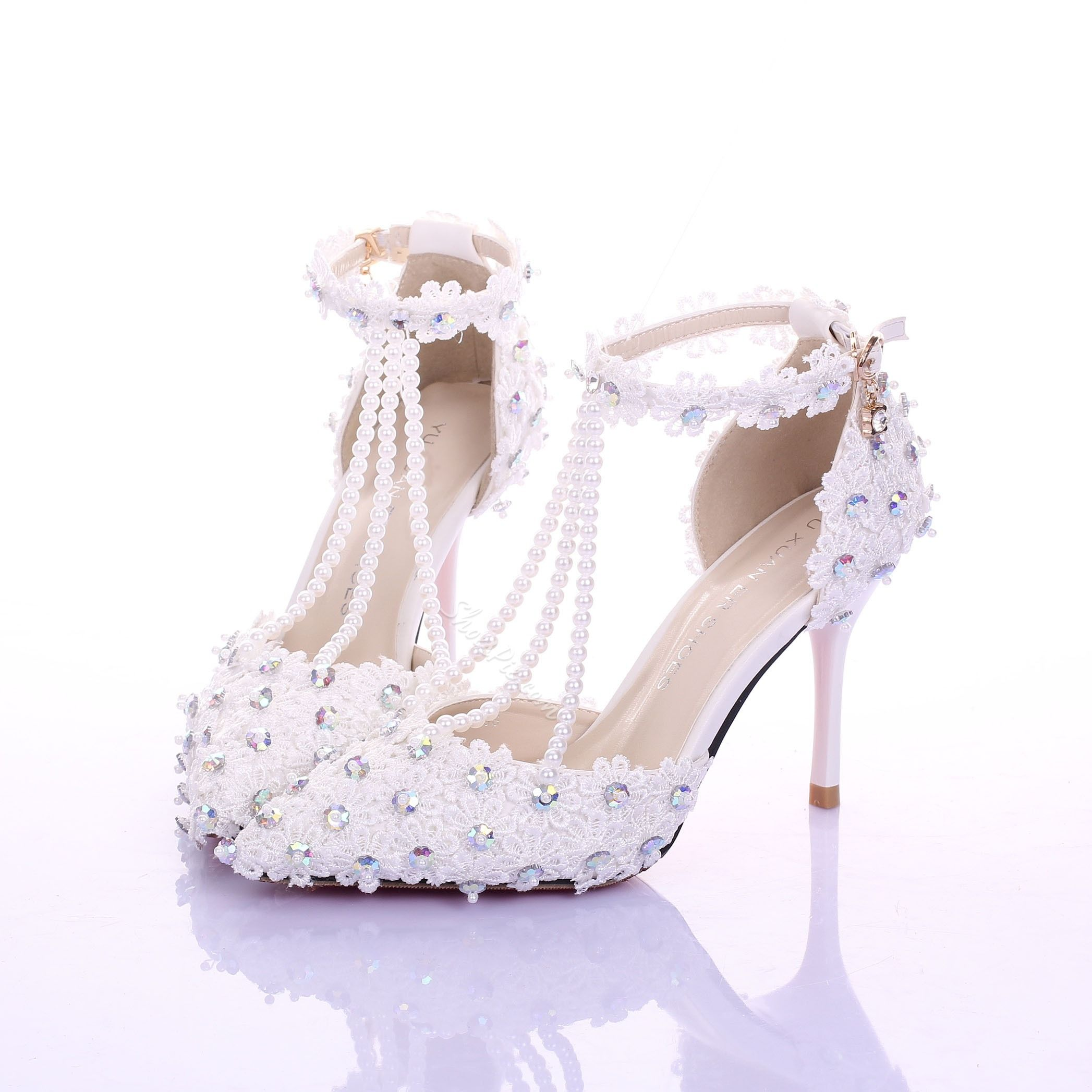 Lace Rhinestone T Wrap Low Heel Bridal Shoes