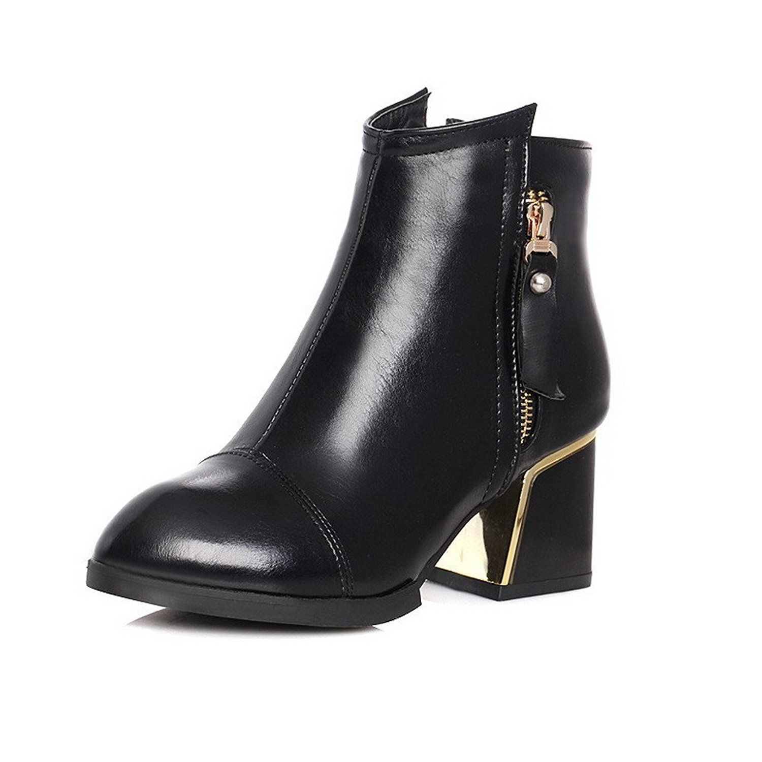 Women's Low-top Solid Zipper Pointed Closed Toe Low-Heels Boots