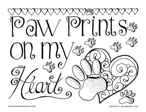 Paw Prints Valentine Valentine Coloring Pages Quote Coloring Pages Coloring Pages