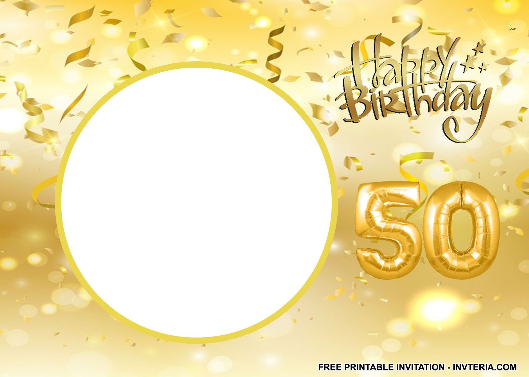 graphic relating to Free Printable 50th Birthday Invitations identified as Remarkable Cost-free PRINTABLE 50TH BIRTHDAY Celebration Invites Concept