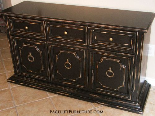 Captivating Black Distressed Cabinet   Facelift Furniture