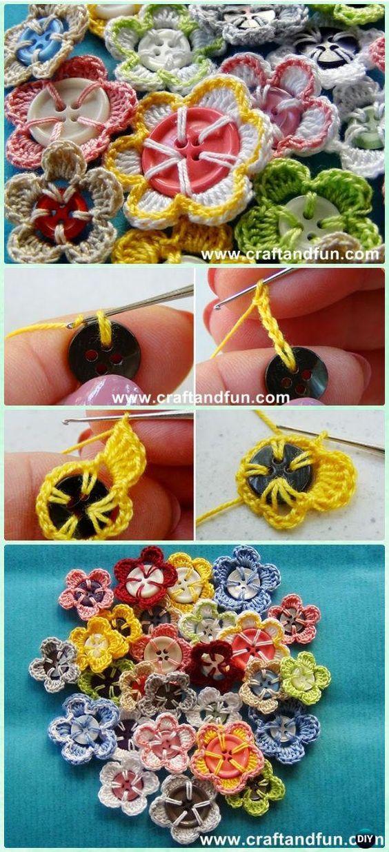 Crochet Button Flower Free Pattern [Video] #Crochet | Buttons ...