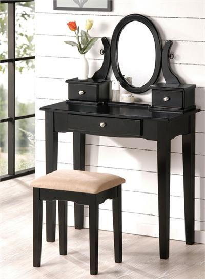 Carina Black Vanity Set | Vanity Tables | Black vanity table ...