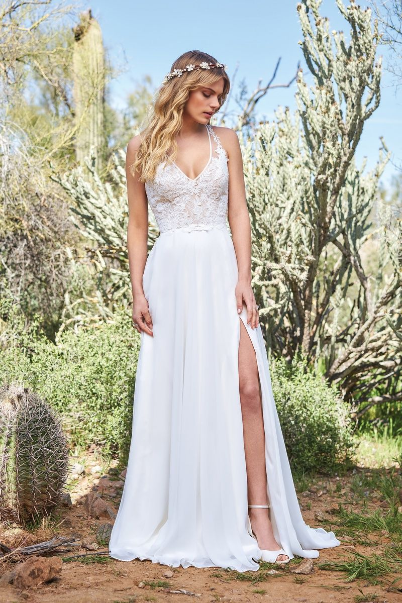 Lillian west chiffon aline gown with racerback and high slit