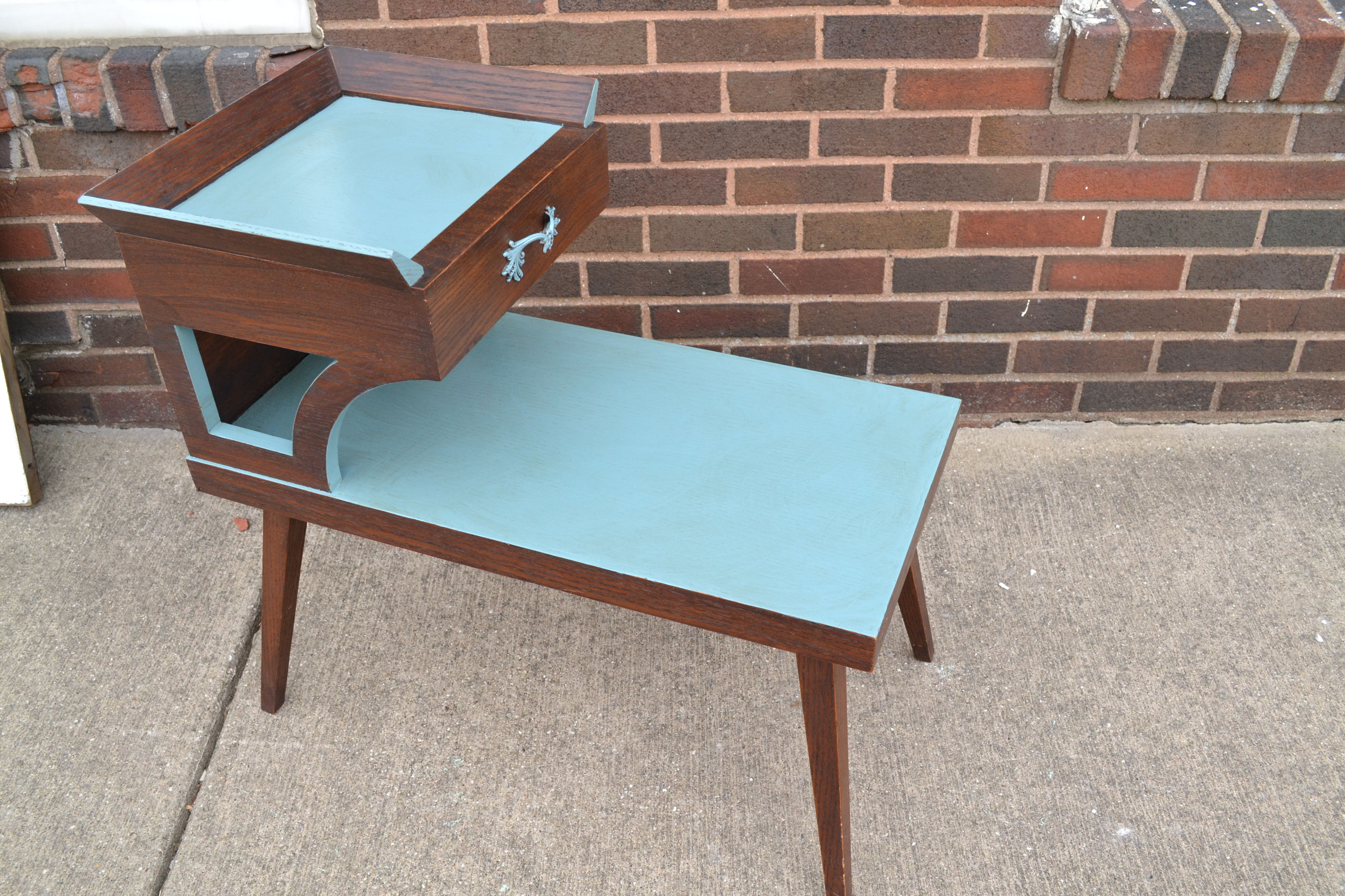 Best Mid Century Modern End Table Selectively Painted Blue W 640 x 480