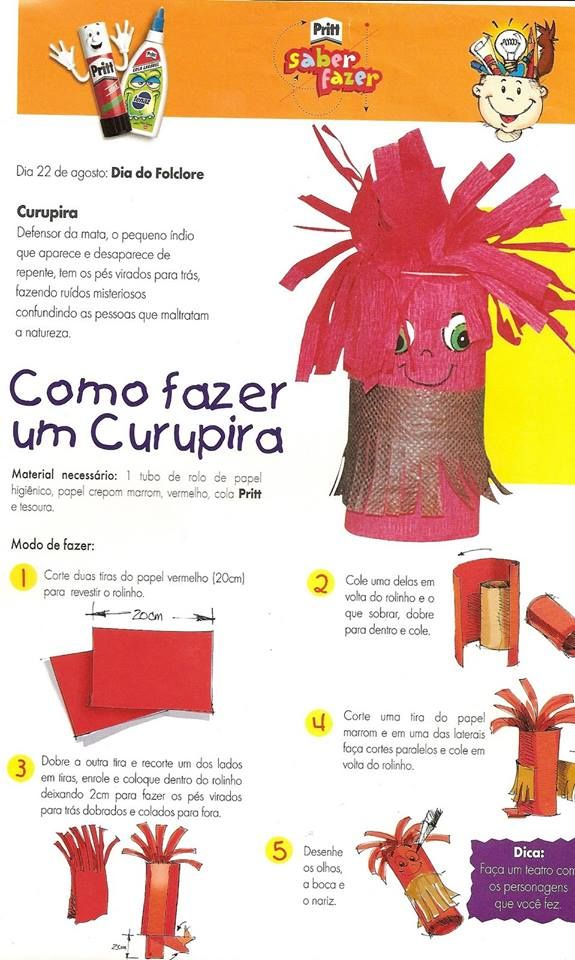 Resultado de imagem para ideias para folclore curupira ROLO DE PAPEL HIGIÊNICOeducação infantil