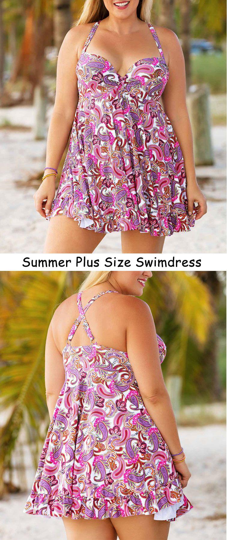 da7c57a27f0f1 Paisley Print Cross Back Plus Swimdress and Panty   Plus Size ...