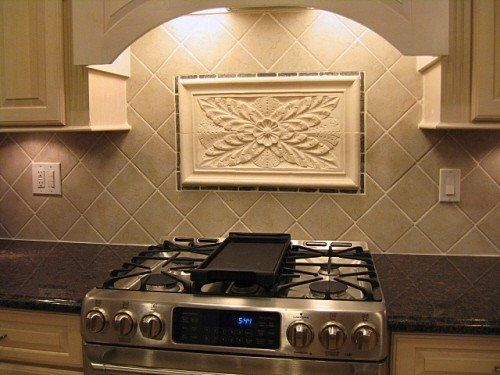 Kitchen Backsplash Tiles Using Colonial Flower Tile and Decorative Liners by Anderson Ceramics