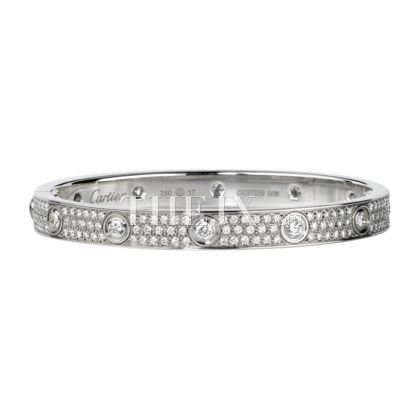 Replica Cartier 18k White Gold Bracelet With Paved Diamonds 1 High Quality