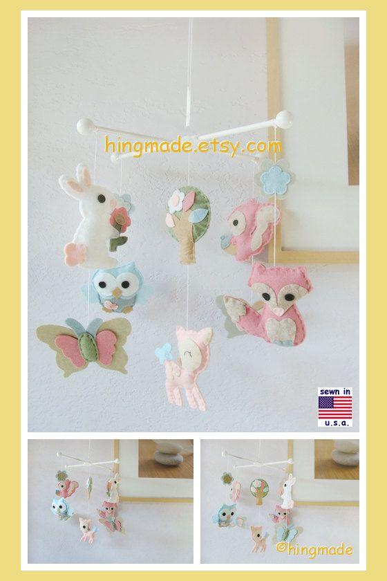 Baby Mobile Woodland Critters Mobile Baby Girl Mobile