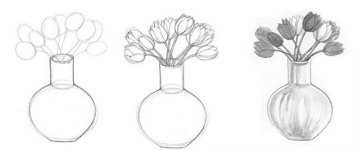 Poetapnoe Risovanie Vazy S Cvetami Cvety Vaza Frukty