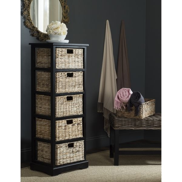 Lovely Safavieh Vedette Distressed Black 5 Drawer Wicker Basket Storage Tower