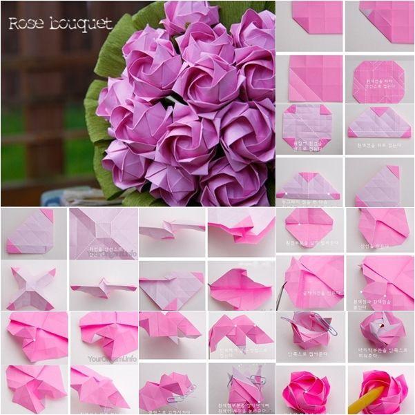 DIY Beautiful Origami Paper Rose Bouquet | Paper roses, Paper flowers, Origami flowers tutorial