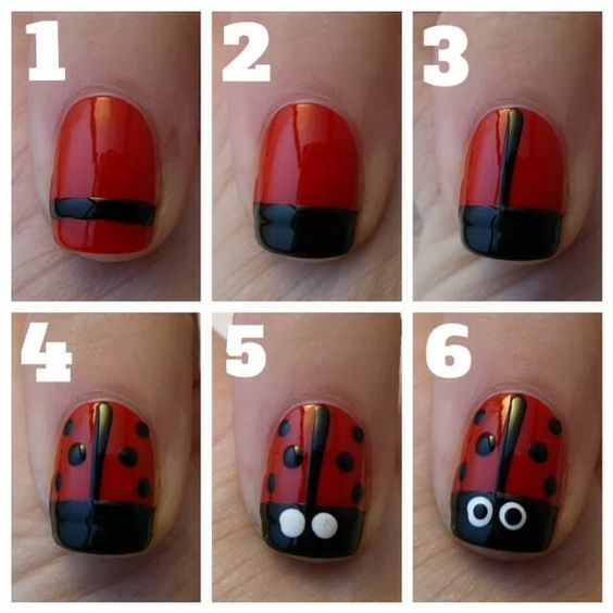 Here is a simple lady bug nail design for you or your little girl ...