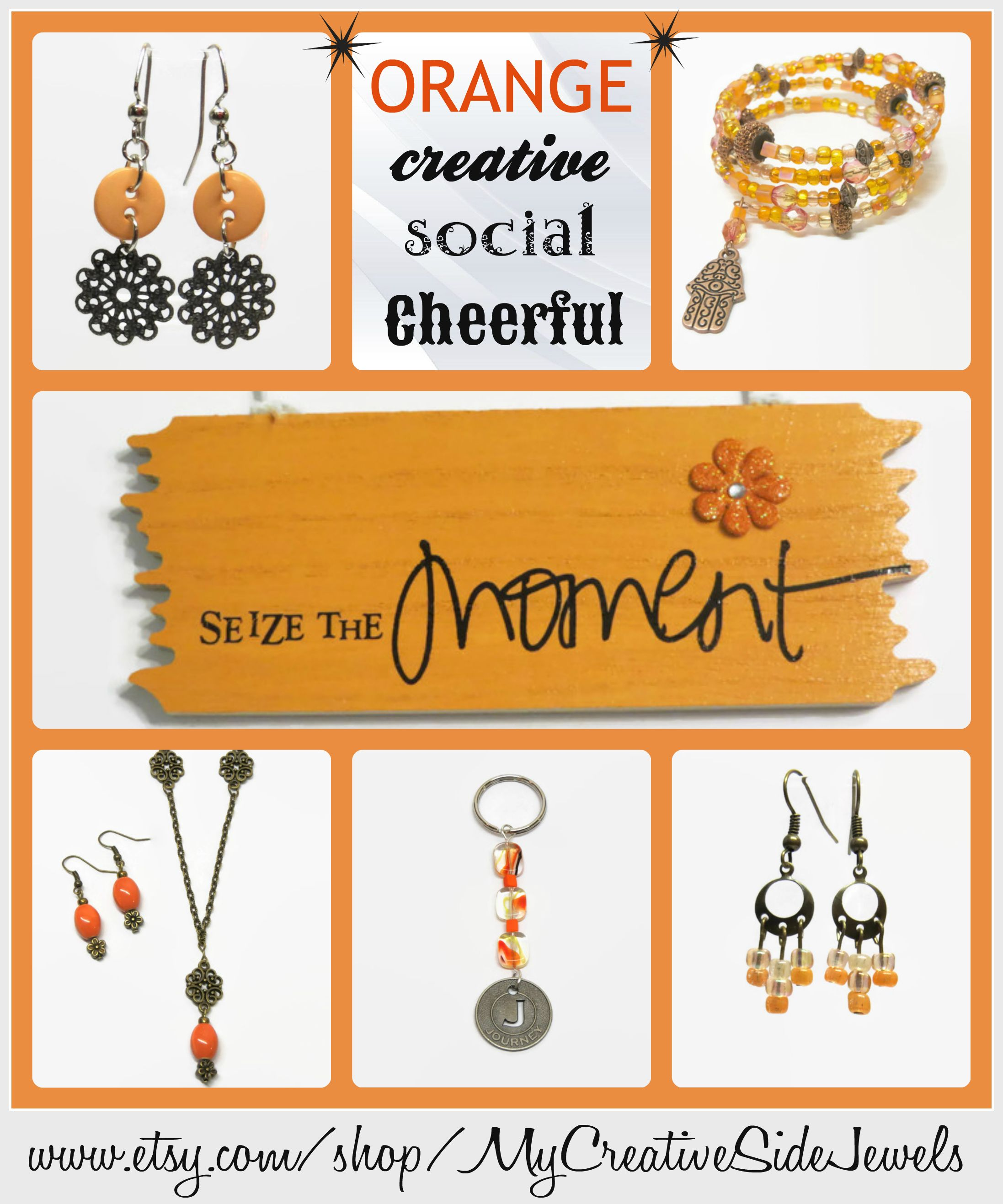 Jewelry with meaning.  Orange symbolizes being creative, social and cheerful.  SHOP: https://www.etsy.com/shop/MyCreativeSideJewels