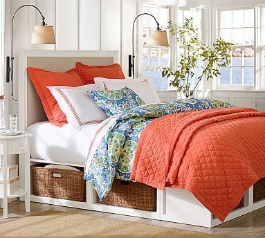 Stratton Storage Bed With Baskets King Cal Mahogany Stain