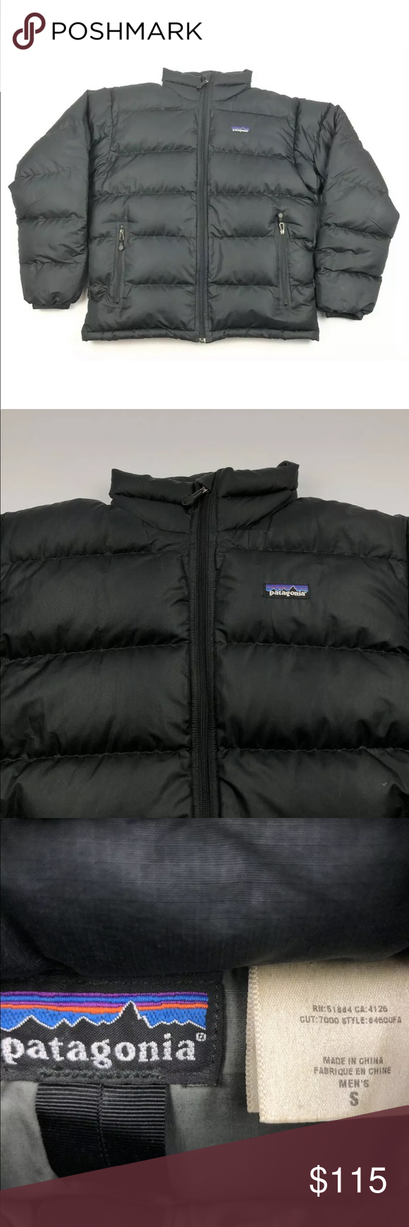Mens Black Patagonia 600 Down Small Puffer Jacket Mens