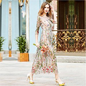 ec094c2b1cf4 AROMEE Women's Embroidered Floral Spliced Tulle Maxi Lace Mesh Hollow Out  Cocktail Dresses at Amazon Women's Clothing store: