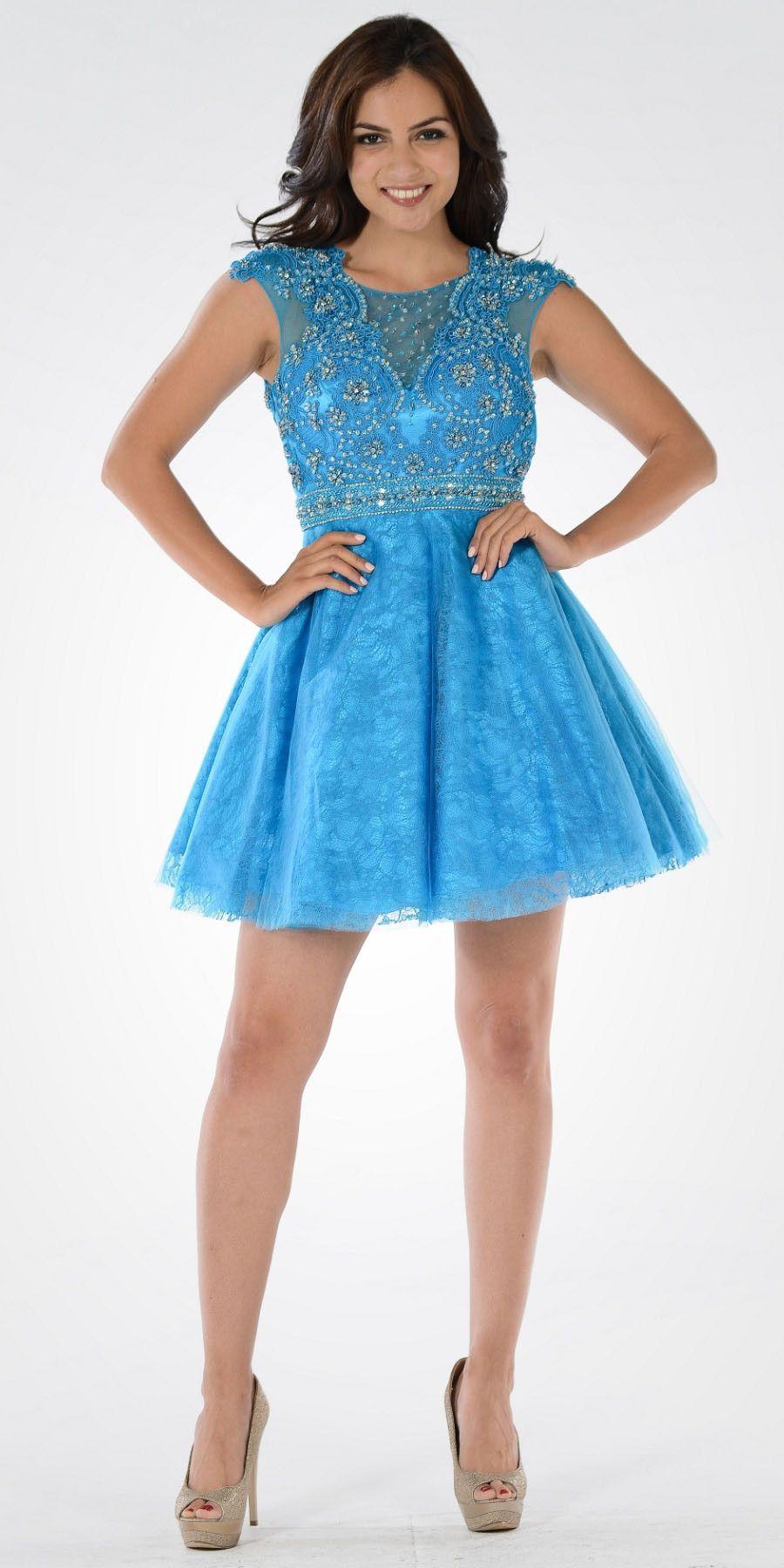 Cap Sleeves Embellished Bodice Illusion V-Neck Short Prom Dress Blue ...