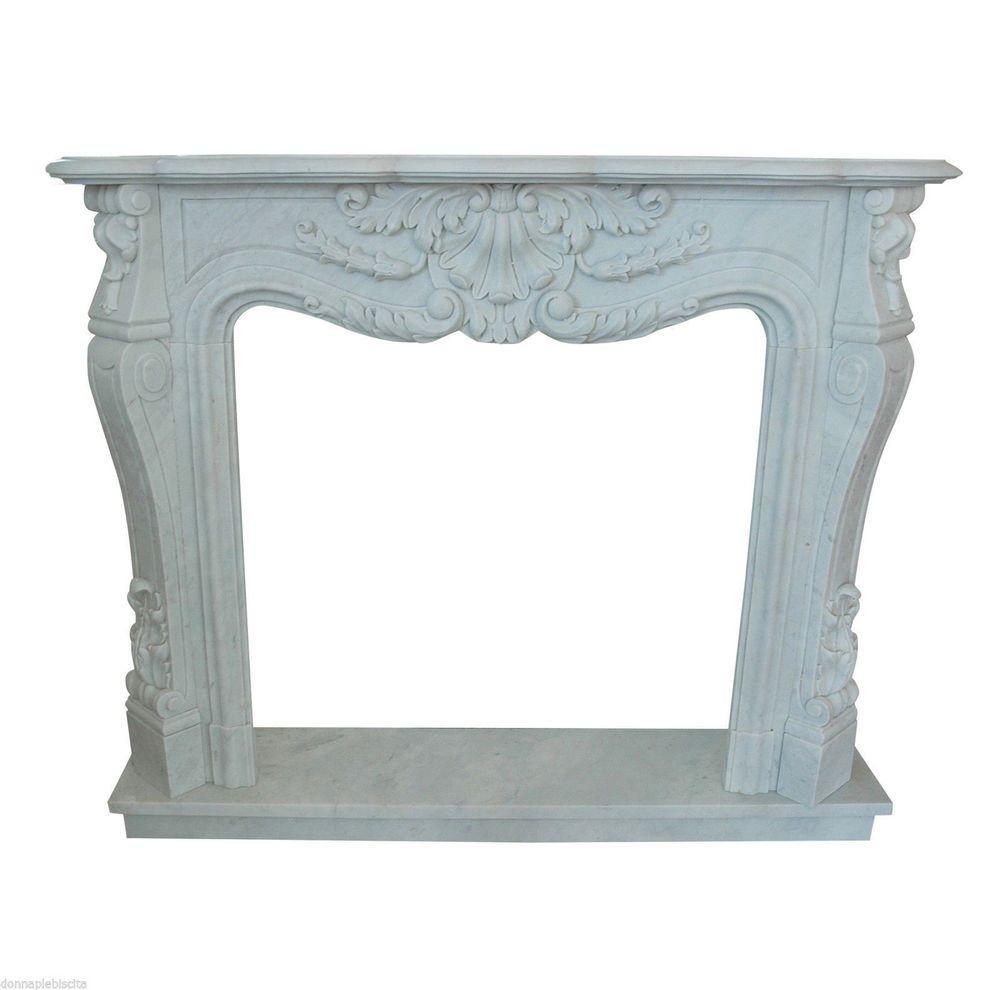 Camino Stile Luigi XVI Marmo Bianco Classic Stone White Carrara ...