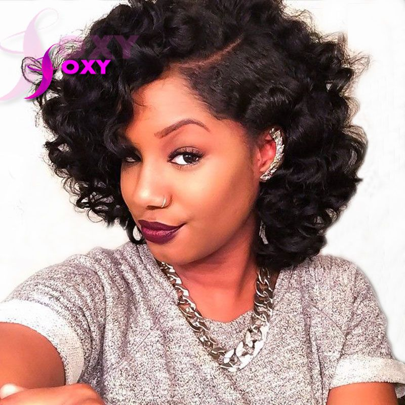 Online Shop Short Human Hair Wigs Curly Lace Front Human
