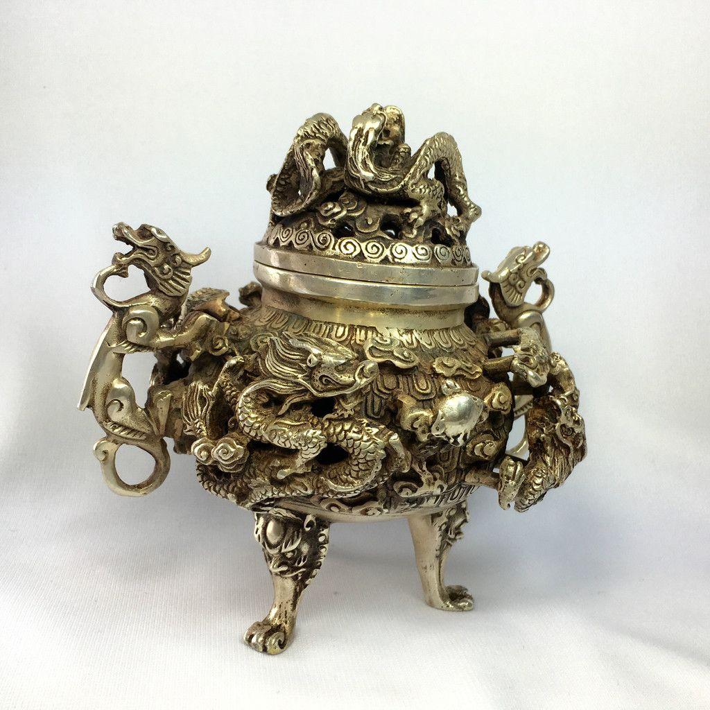Antique bronze incense burner your majesty dragon