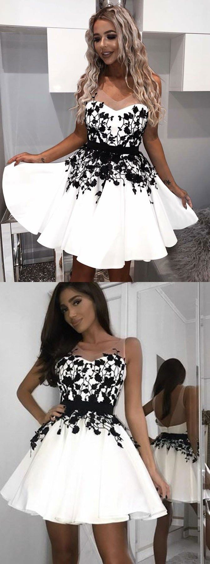 Aline vneck backless aboveknee white homecoming dress with