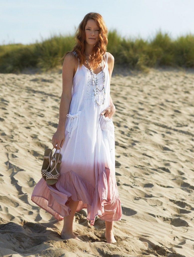 fc8891fe1e41 BOHO dlouhé dámské šaty - bílá - fair trade oblečení z biobavlny ...