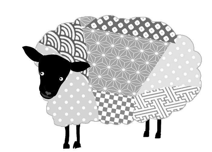 Sheep年賀状 羊のイラスト 白黒 冬のイラスト素材 無料テンプレート