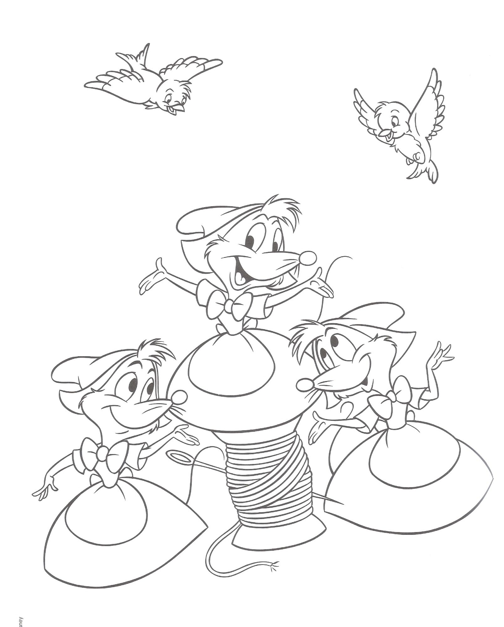 Cinderella coloring page with the mice | Free Coloring Pages ...