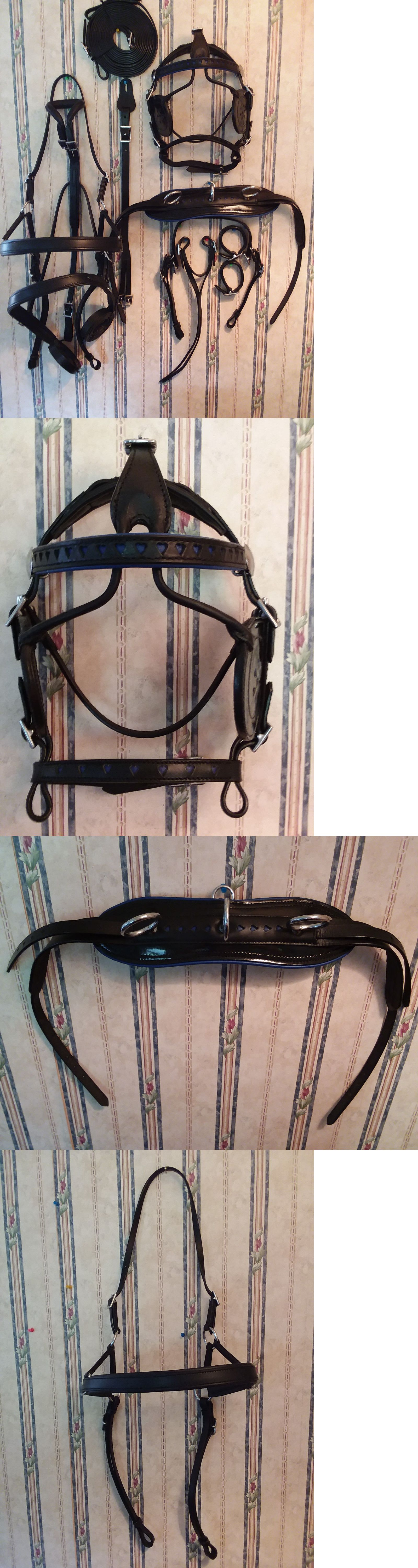 medium resolution of driving equipment 85178 black leather shetland pony mini miniature driving horse harness w blue hearts buy it now only 149 95 on ebay driving