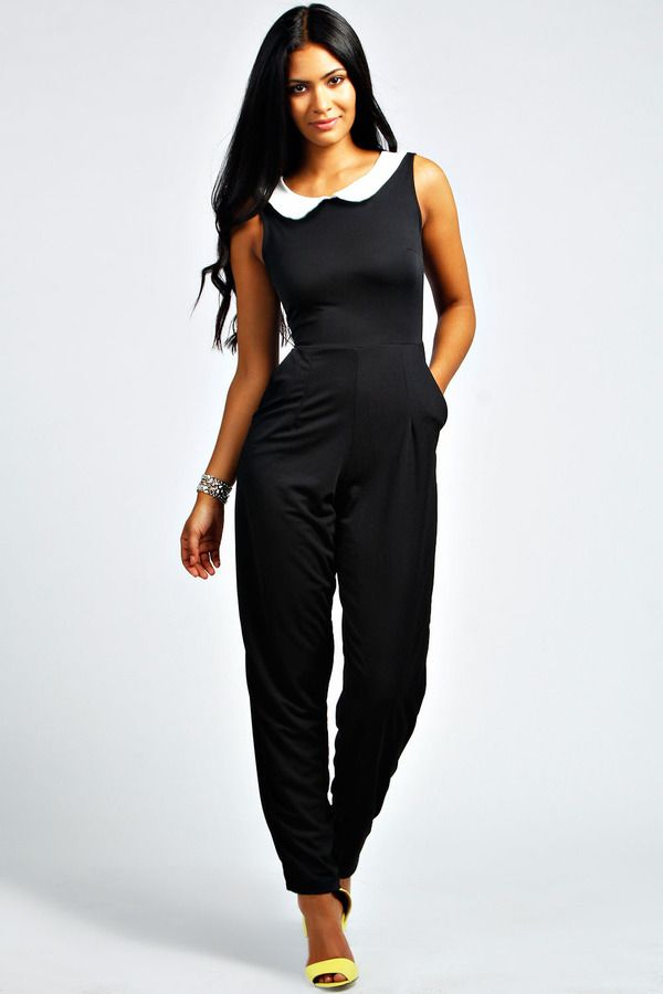 0da1ee89ba37 Boohoo Lexi Peter Pan Collar Sleeveless Jumpsuit on shopstyle.com ...