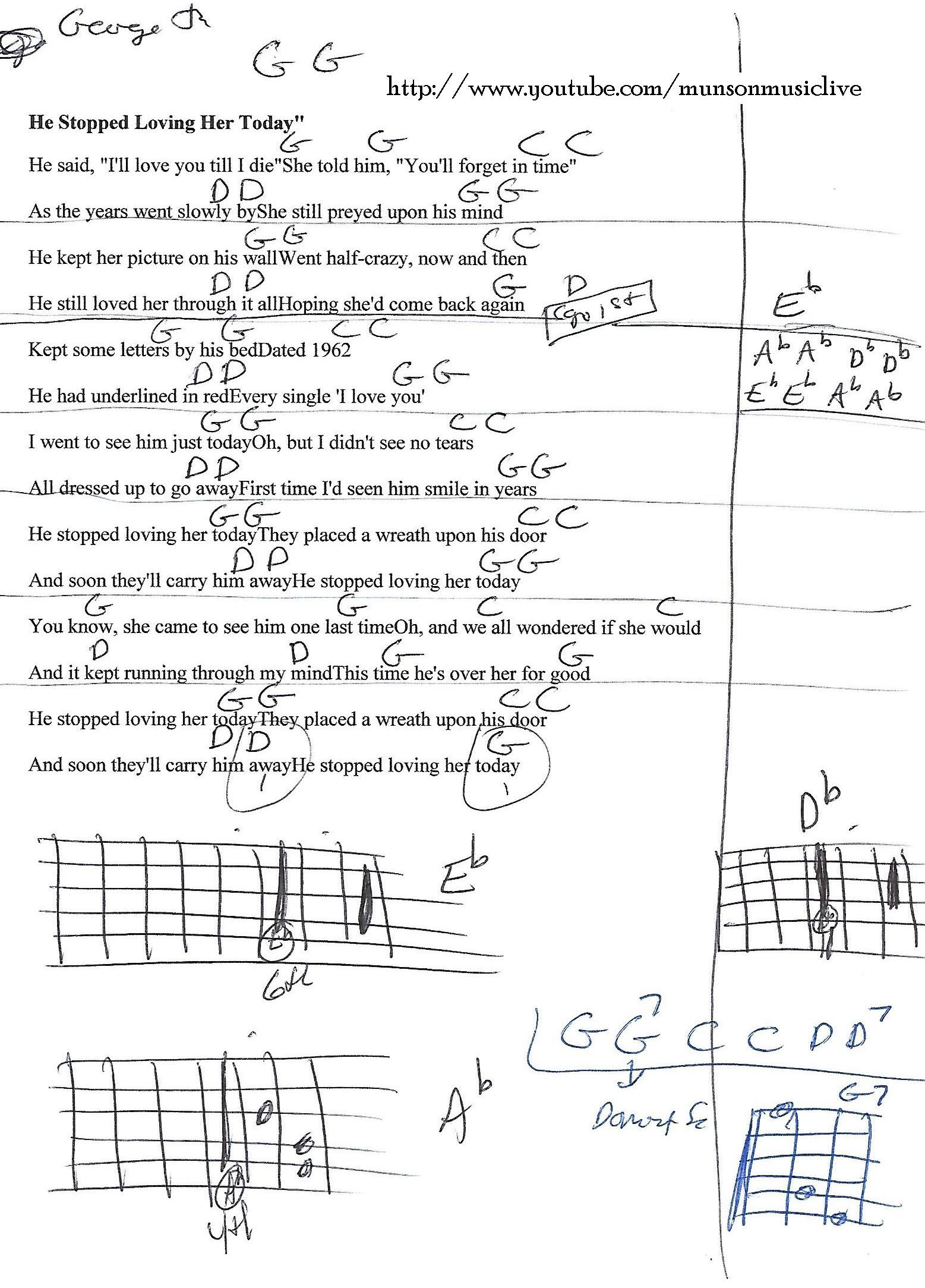 He Stopped Loving Her Today George Jones Guitar Chord Chart