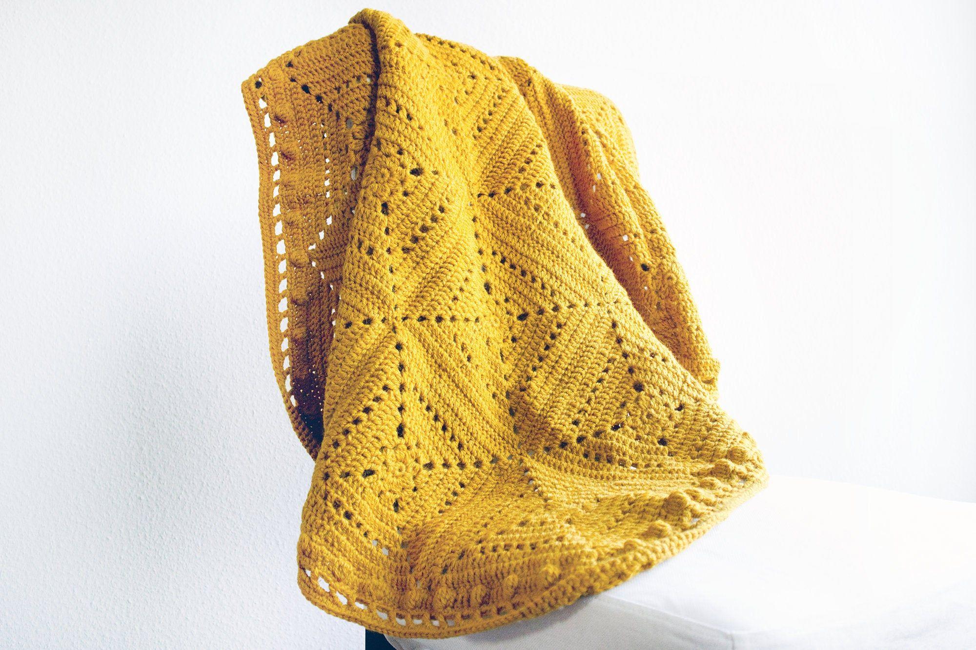 Granny Square Blanket Mustard Yellow Crochet Sticks About 130 X 90 Cm Cloak Ceiling 100 Wool Yellow Cuddle Blanket One Coloured Decke Häkeln Einfarbig Decke Häkeln Großmutterdecekn