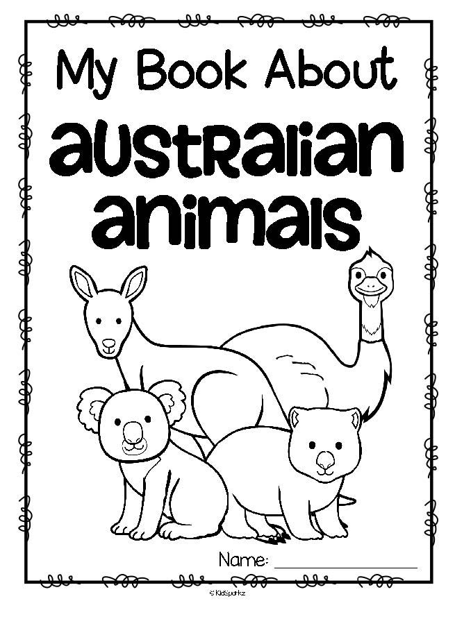kangaroo animal coloring pages. Australian animals printables book  are koala kangaroo wombat platypus dingo