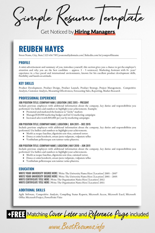 Simple Resume Template Reuben Hayes Teacher resume