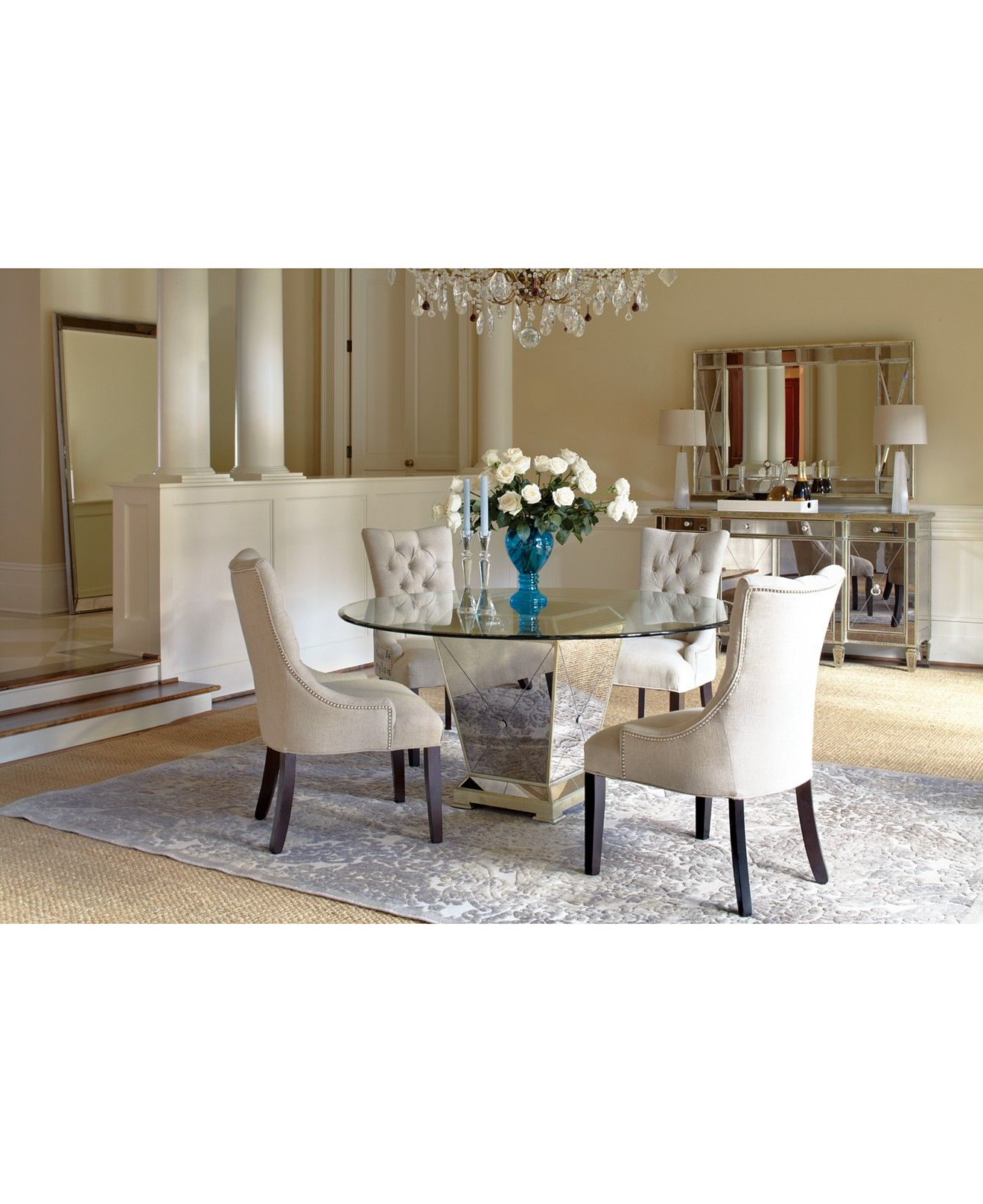 Marais Round Dining Room Furniture Collection Mirrored In