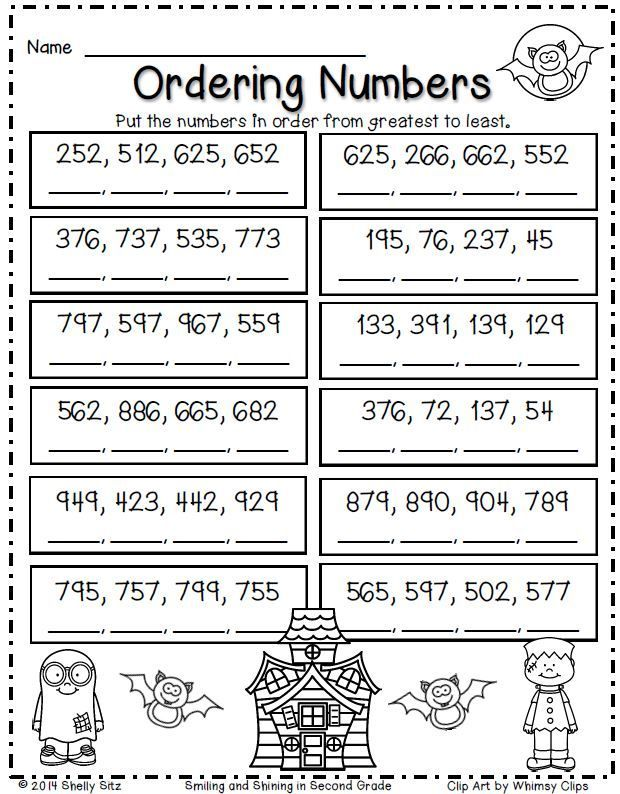 Halloween Math for second grade--ordering numbers--FREE | Free ...