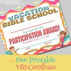 Free printable vacation bible school certificate tee pinterest free printable vacation bible school certificate yelopaper Image collections
