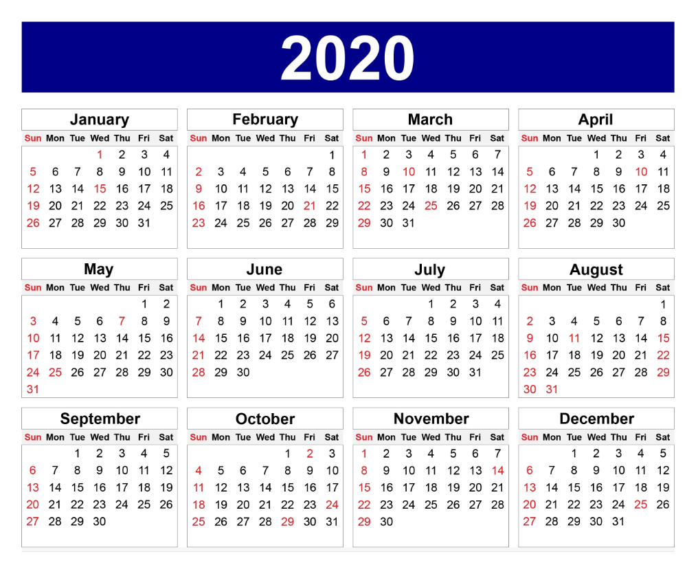 Cute Yearly 2020 Calendar Printable