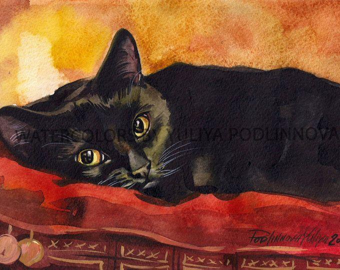 Gatto nero acquerello pittura stampa 5 x 7