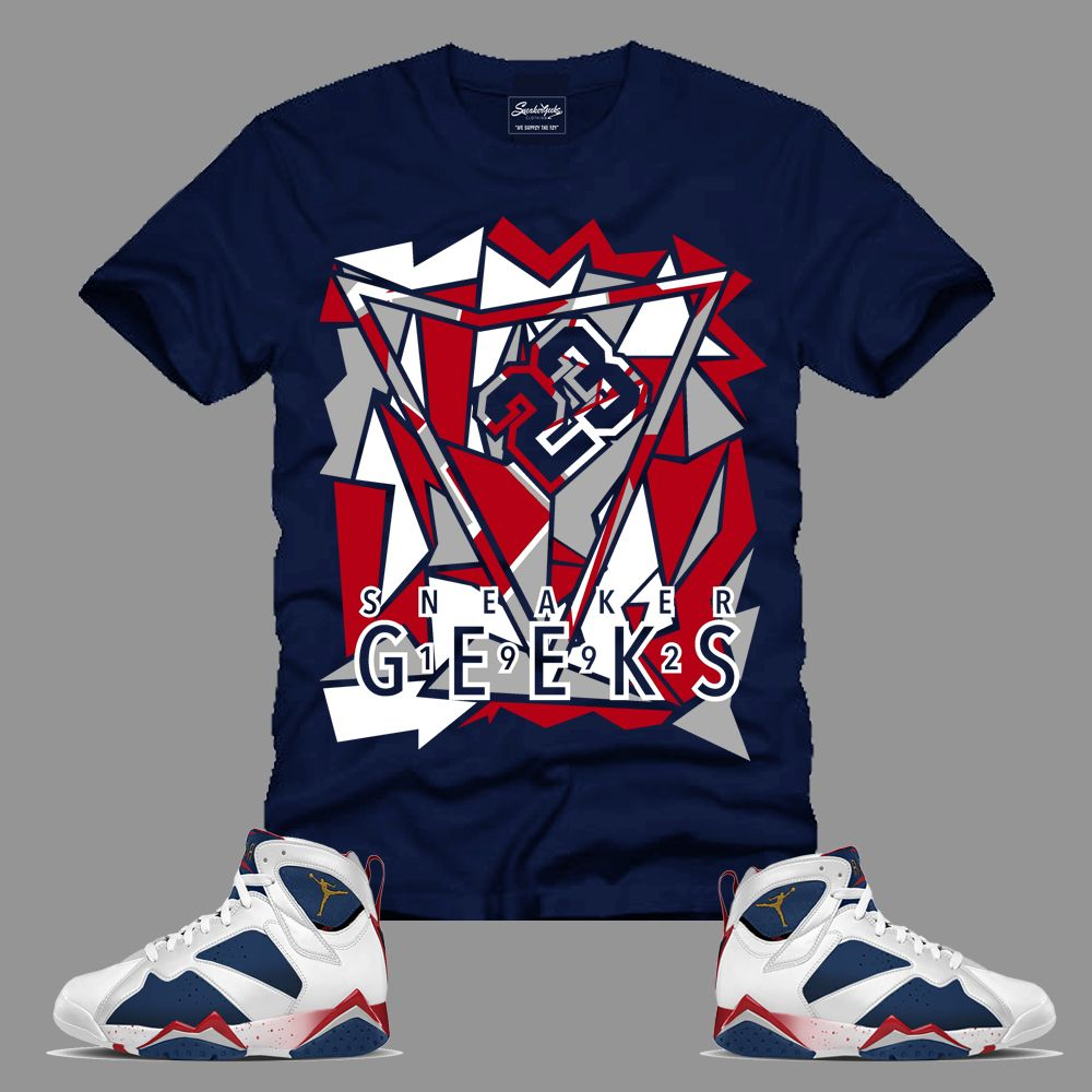 0f6b908571fc64 1992 T-Shirt in Navy to match Jordan 7 Tinker Alternate