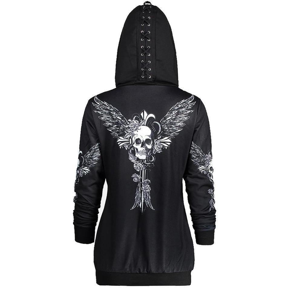 Womens Skull Floral Hoodie Jacket Sweatshirt Halloween Zip Up Coat Top Plus Size
