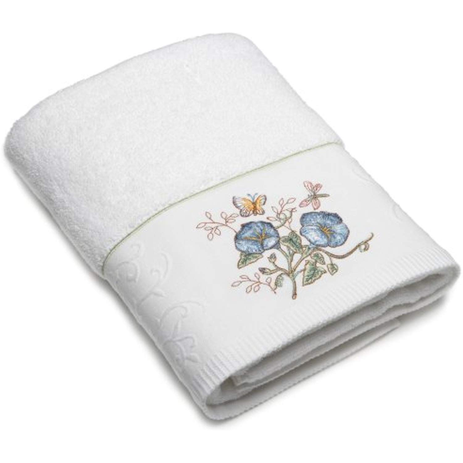 Lenox Butterfly Meadow Embroidered Hand Towel Blue Flower